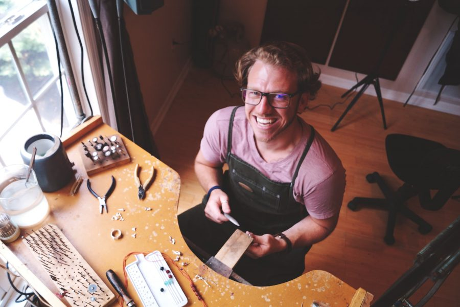 Adrian Amabile at his workbench