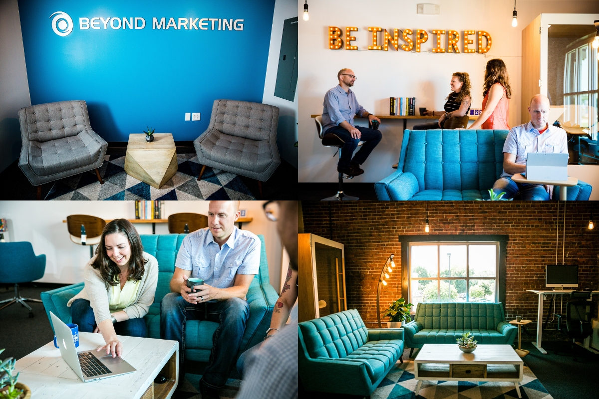 collage of interior photos of Beyond Market's fort mill marketing agency